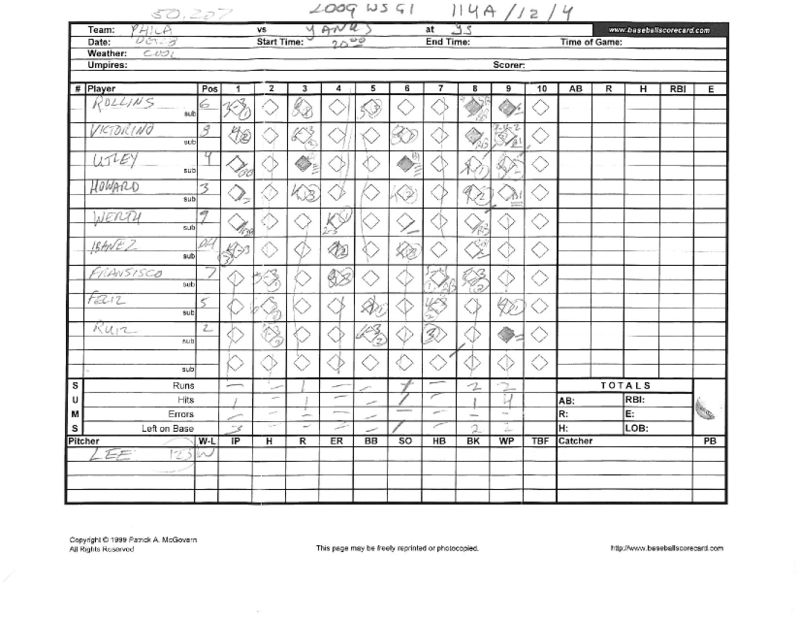 2009 WS scorecards Yanks 27th WS title 4-2 vs Phila_Page_01